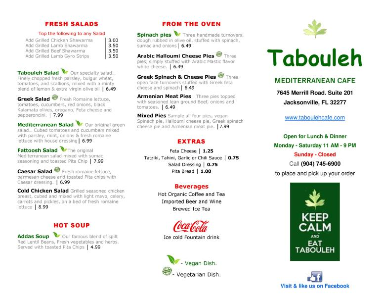 Tabouleh Cafe Menu Page 1